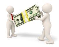 Geschäftsleute 3d, die einen Satz Geld überreichen Lizenzfreies Stockbild