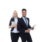 Geschäftsleute des Lächeln-, Griff-Ordners und Tablets, Geschäftsmann-Geschäftsfrau Wear Formal Suit Stockbilder