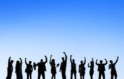 Geschäftsleute, die draußen Team Teamwork Support Concept treffen Lizenzfreies Stockbild