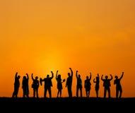 Geschäftsleute, die draußen Team Teamwork Support Concept treffen Stockfotos