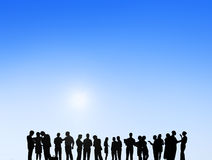 Geschäftsleute, die draußen Team Teamwork Support Concept treffen Stockbilder