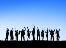 Geschäftsleute, die draußen Team Teamwork Support Concept treffen Lizenzfreie Stockbilder