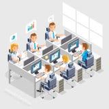 Geschäftsleute, die an einem Schreibtisch arbeiten stock abbildung