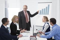 Geschäftsleute, die in einer Sitzung behandeln Stockbilder