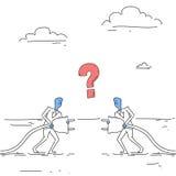Geschäftsleute, die elektrisches Stecker-Teamwork-Wirtschaftler-Verbindungs-Konzept halten lizenzfreie abbildung