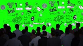 Geschäftsleute, die Grafiken auf grünem Schirm betrachten stock abbildung