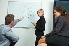 Geschäftsleute, die im Büro brainstoming sind Lizenzfreie Stockfotos