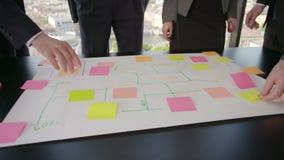 Geschäftsleute, die Plan auf Schreibtisch entwickeln