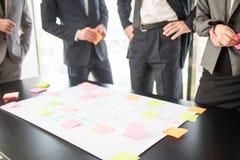 Geschäftsleute, die Plan auf Schreibtisch entwickeln Lizenzfreie Stockbilder