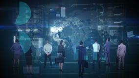 Geschäftsleute, die Schnittstelle betrachten lizenzfreie abbildung