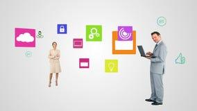 Geschäftsleute, die Technologie einsetzen vektor abbildung