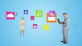 Geschäftsleute, die Technologie einsetzen stock abbildung