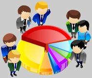 Geschäftsleute, die um das Diagramm stehen. Lizenzfreie Stockfotografie