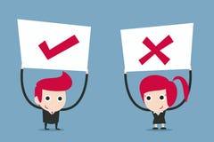 Geschäftsleute, die Zeichen halten Lizenzfreies Stockbild