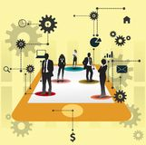 Geschäftsleute, die zusammenarbeiten. Zusammenarbeitskonzeptdesign. Stockfotografie