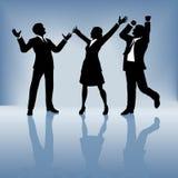 Geschäftsleute feiern auf Steigunghintergrund Stockbild