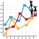 Geschäftsleute feiern Erfolg auf Diagramm Stockbild