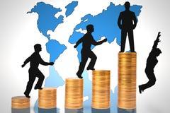 Geschäftsleute gehen Karrieretreppen hinauf Stockfoto