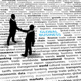 Geschäftsleute globale ökonomische Ausgabetext-Seite Lizenzfreie Stockbilder