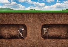 Geschäftsleute graben einen Tunneluntergrund lizenzfreies stockfoto