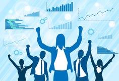 Geschäftsleute Gruppen-Feier-Schattenbild- Stockfoto