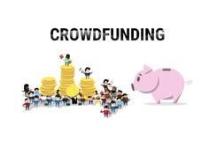 Geschäftsleute Gruppen-Investitions-Geld-Investor-Mengen-Finanzierungs-Netz-Fahnen- lizenzfreie abbildung