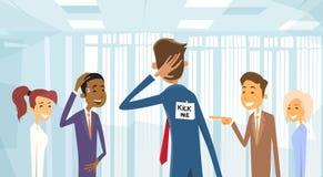 Geschäftsleute gruppieren das Lachen, treten mich Anmerkung über Geschäftsmann Back, Witz-Dummkopf-Tag April Holiday lizenzfreie abbildung