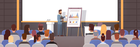 Geschäftsleute gruppieren an den Konferenz-Sitzungs-Ausbildungskursen Flip Chart mit Diagramm stock abbildung