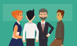 Geschäftsleute gruppieren Stellung und die Unterhaltung lizenzfreie abbildung