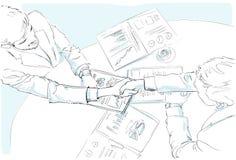 Geschäftsleute Händedruckskizzen-Schreibtisch mit stock abbildung