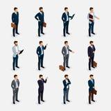 Geschäftsleute isometrischer Satz mit Männern in den Klagen, Bart, der das stilvolle Frisurschnurrbartbüro lokalisiert anredet Stockfotografie