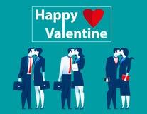 Geschäftsleute küssen im Valentinsgruß Stockbilder
