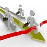 Geschäftsleute laufen über Ziellinie Stockfotos