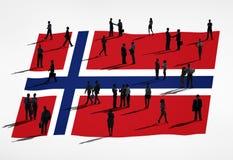 Geschäftsleute mit der Flagge von Norwegen Lizenzfreies Stockbild