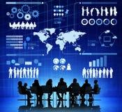 Geschäftsleute mit Infographic-Illustration Stockbilder