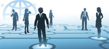 Geschäftsleute Schattenbildkommunikationen netwo Lizenzfreies Stockfoto