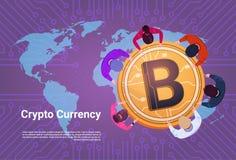 Geschäftsleute Sit At Golden Bitcoin Sign über Weltkarte-Hintergrund-Spitzenwinkelsicht-Schlüsselwährungs-Konzept vektor abbildung