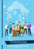 Geschäftsleute Team Boss Manager Sit Working-Desktop- lizenzfreie abbildung