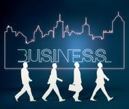 Geschäftsleute Team mit Stadtlinie lizenzfreie abbildung