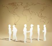 Geschäftsleute Team mit Weltkarte vektor abbildung