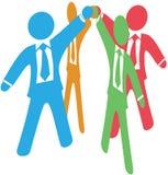 Geschäftsleute team oben Arbeit sich anschließen Händen vektor abbildung