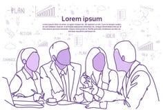 Geschäftsleute Team Sit At Desk Together Communications-Diskussions-oder -Sitzung über Brainstorming über abstraktem Gekritzel Stockbild