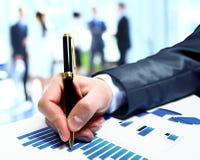 Geschäftsleute Teamarbeitsgruppe während der Konferenzberichtsdiskussion Stockfotos