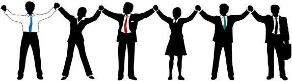 Geschäftsleute Teameinfluß-Hände oben in der Zeile Lizenzfreie Stockfotos