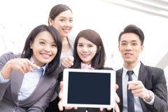 Geschäftsleute Teamshow-Schirm Stockfotografie