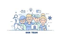 Geschäftsleute Teamwork Flache Linie Vektor-Illustration concep der Designart modernes Stockfoto