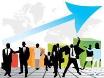 Geschäftsleute und Diagramm, die Erfolg zeigen lizenzfreie abbildung