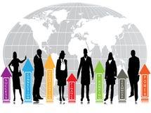 Geschäftsleute und Grafiken Stockfoto