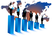 Geschäftsleute und Karte Stockfotografie