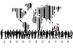 Geschäftsleute und Strichkode Stockfoto